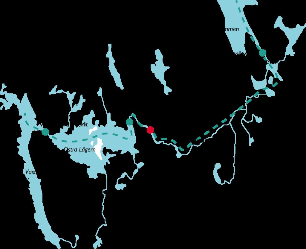 Karta över Tranås Energis aktiva vattenkraftverk